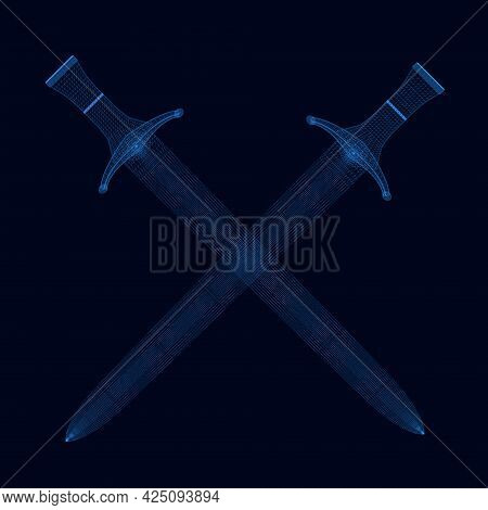 Wireframe Of Crossed Old Swords From Blue Lines On A Dark Background. 3d. Vector Illustration