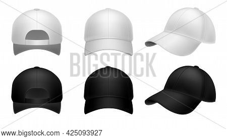 Realistic Baseball Cap. Black And White Mockup Hat Front Side And Back View. Men And Women Headwear,