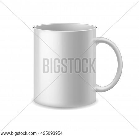 Realistic Cup. White Ceramic Mug With Handle Coffee Or Tea. Empty Simple Clean Porcelain Utensil Wit