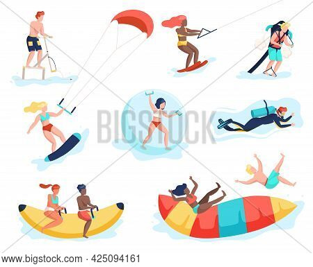 Water Activities. People Doing Beach Sports. Men And Women Having Fun On Marine Attractions. Persons