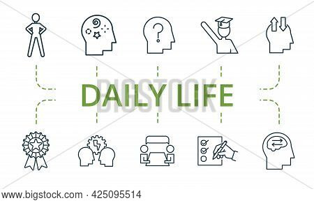 Daily Life Icon Set. Contains Editable Icons Theme Such As Open Mindedness, Latteral Thinking, Excel