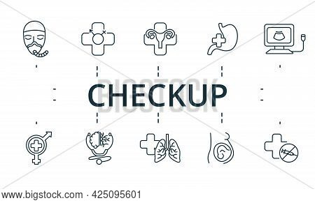 Checkup Icon Set. Contains Editable Icons Theme Such As Gynecology, Sexology, Narcology And More.