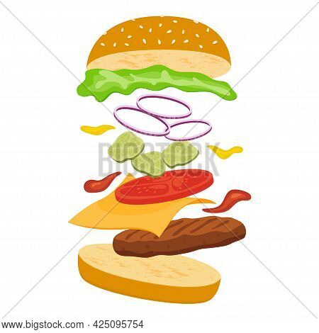 Jumping Burger. Cheeseburger With Ingredients Jumping In The Air On White Background. Vector Illustr
