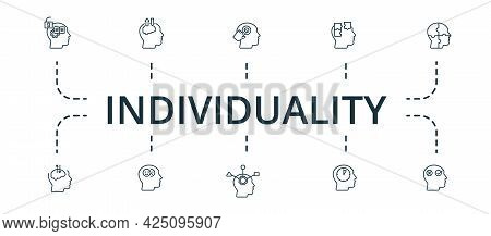 Individuality Icon Set. Contains Editable Icons Theme Such As Emotional Intelligence, Critical Think