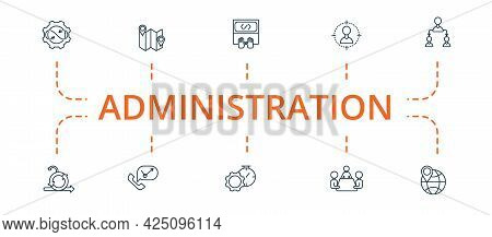 Administration Icon Set. Contains Editable Icons Theme Such As Custom Code, Delegating Tasks, Optimi