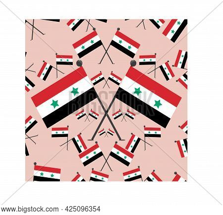 Vector Illustration Of Pattern Syria Flags And Pink Colors Background.