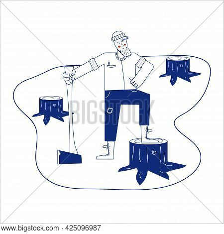Forester Man Sketch Icon . Hand Drawn Blue Doodle Line Art Forester Man Sign. Isolated Symbol Illust
