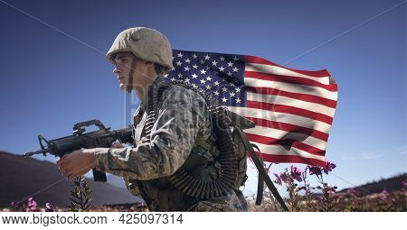 Composition of male soldier holding gun, with waving american flag, against blue sky. patriotism, independence and military concept digitally generated image.