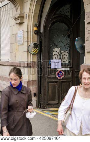 Strasbourg, France - Jun 27, 2021: Focus On The Sign Bureau De Vote Translated As Poling Office. Vot