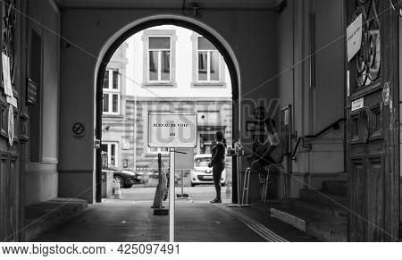 Strasbourg, France - Jun 27, 2021: No Visitor At French Polling Station Sign Bureau De Vote. Voters