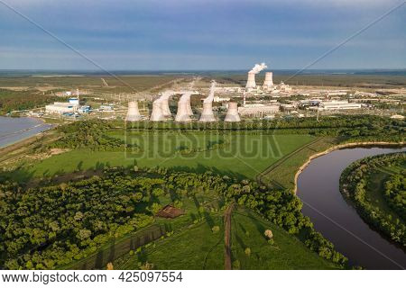 Aerial View Of Industrial Zone With Power Station Atomic Energy Production. Nuclear Power Plant Prod