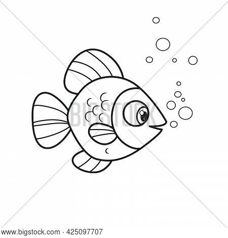 Cute Cartoon Big Sea Fish With Round Fins Outlined For Coloring Page Isolated On White Background