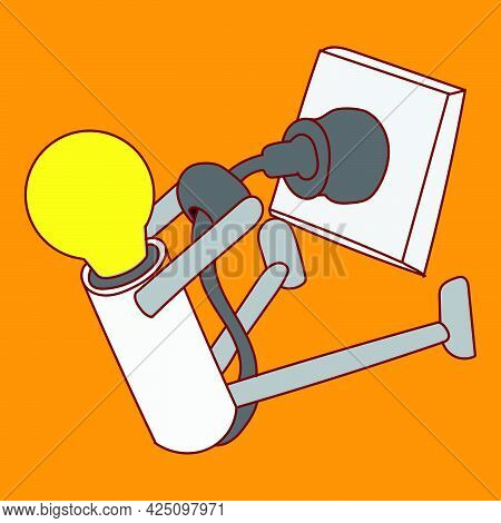 The Cartoon Mascot Character, A Glowing Light Bulb Is Trying To Unplug Himself