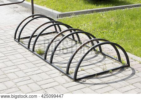 Bicycle Rack With Multiple Compartments. Dedicated Place For Bicycles