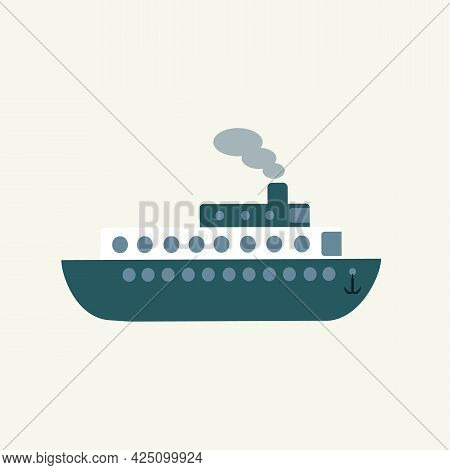 Simple Navy Toy Ship, Side View. Cute Kid Transport. Vector Drawn Flat Illustration, Clipart, Sticke