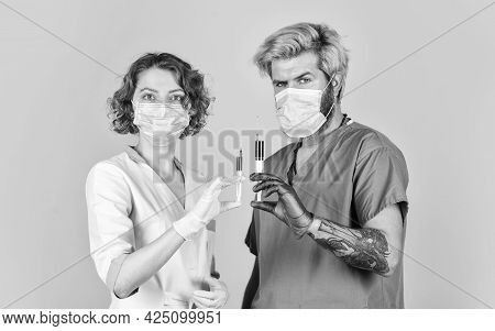 Medicines. Intravenous Injection. Nurse And Doctor Preparing Injection. Coronavirus. Vaccination Con