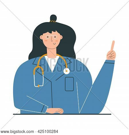 Cute Woman In Glasses, Doctor, Medical Worker. Health Care Concept.