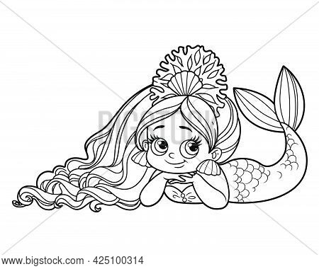 Cute Coquettish Mermaid Girl In Coral Tiara Lies On A White Background Outlined For Coloring Page