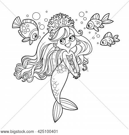 Cute Coquettish Mermaid Girl In Coral Tiara Speaks With Fish Outlined For Coloring Page Isolated On