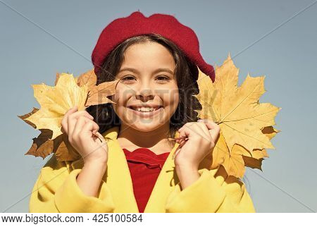 Happy Parisian Girl Wear French Beret And Hold Autumn Maple Leaves, Beauty