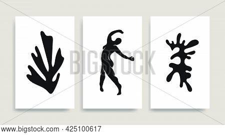 Woman Dark Figure Silhouette Line Art Matisse Painting. Pastel Reproduction Of Painting. Contemporar