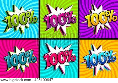 Comic Text 100 Percent Quality Set. Colored Speech Bubble On Radial Background. Comics Book Explosio