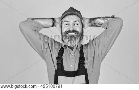 Time To Relax. Confident Mature Mechanic. Portrait Of Repairman. Worker In Storehouse. Caucasian Wor