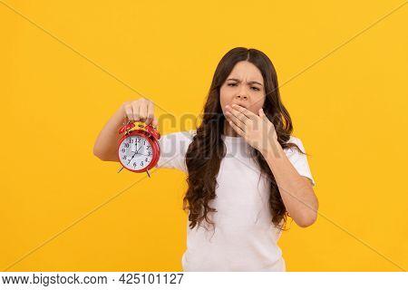 Do Not Be Late. Punctual Kid With Clock. Deadline. Sleepy Kid Hold Alarm Clock. Last Chance.