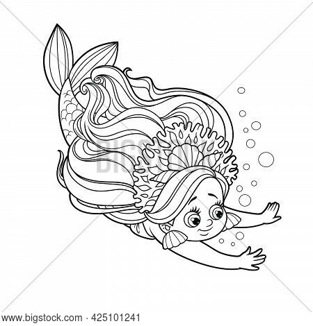Cute Little Mermaid Girl In Coral Tiara Dives Outlined For Coloring Page Isolated On White Backgroun