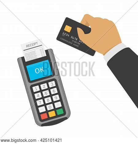 Hand Holding Credit Card Near Pos Terminal. Payment By Credit Or Debit Card, Mobile Payment, Shoppin