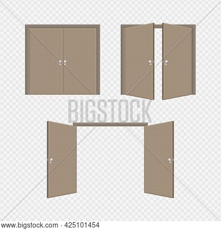 Brown Open And Close Entrance Door Isolated On Transparent Background. Conceptual Illustration For W