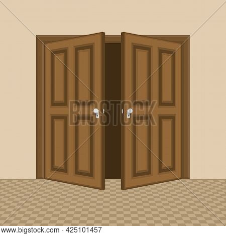 Brown Open Entrance Door On Interior. Conceptual Illustration For Welcome, Invitation To Enter. Cart