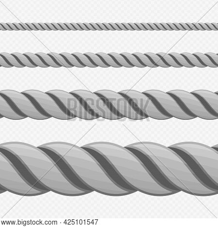 Different Twine Gray Thickness Rope. Vector Set Of Ropes Different Sizes. Rope Seamless Pattern. Top