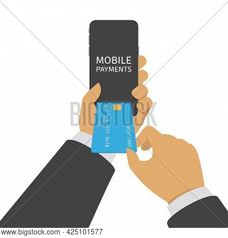 Mobile Payment Vector Illustration. Smartphone In Businessman Hands With Processing Of Mobile Paymen