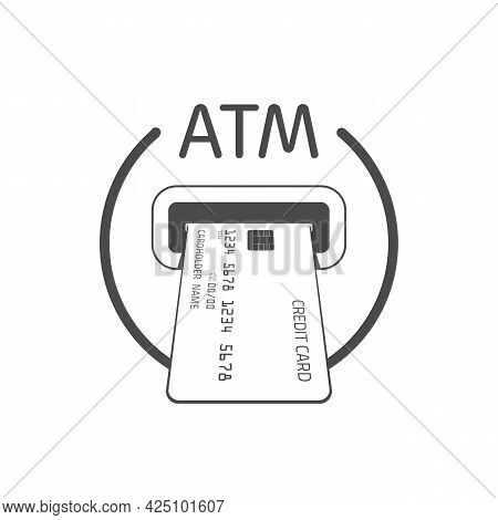 Bank Atm Machine Slot Icon. Payment Terminal, Shopping Symbol. Insert Credit Card Sign. Designed For