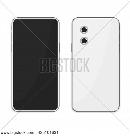 Realistic White Smartphone With Blank Screen, Isolated On White Background. Modern Mobile Phone Fron