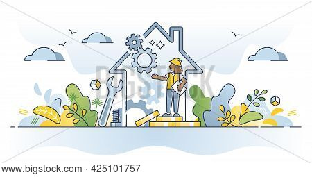 Home Maintenance And Technical House Improvement Service Outline Concept. Work With Under Constructi