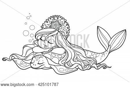 Cute Little Mermaid Girl In Coral Tiara Sleeping Sweetly On The Back Of A Sea Turtle Outlined For Co
