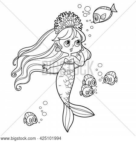 Cute Little Mermaid Girl In Coral Tiara Speaks With Fish Outlined For Coloring Page Isolated On Whit