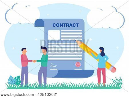 Vector Illustration Of A Deal As A Business Transaction Contract Agreement. Partners Trade Or Buy Sy
