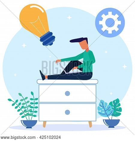 Flat Style Vector Illustration. Freelance Worker Laptop Work Sitting On A Mini Cabinet Thinking Abou