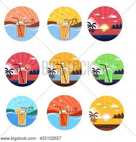 Vector Cocktails Set Isolated, Martini, Sex On The Beach, Long Island Ice Tea, Margarita, Margarita