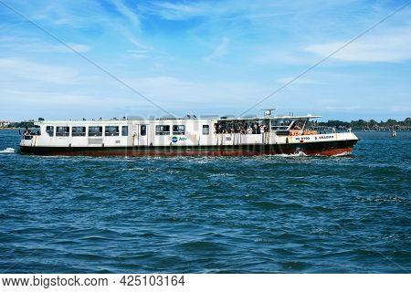 Venice, Italy - June 2, 2021: Actv (municipal Company For Public Transport) Ferry Boat Or Vaporetto