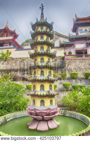 Various Architecture And A Small Pagoda Within The Kek Lok Si Temple In Penang Malaysia On A Sunny B