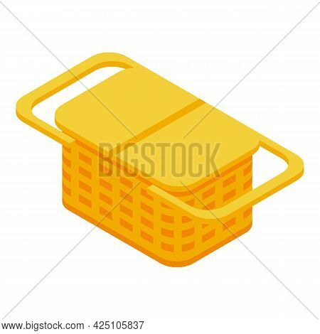 Small Picnic Basket Icon Isometric Vector. Easter Craft Basket. Friends Park Bag