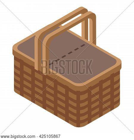 Camp Picnic Basket Icon Isometric Vector. Wicker Food Bag. Picnic Gift Basket
