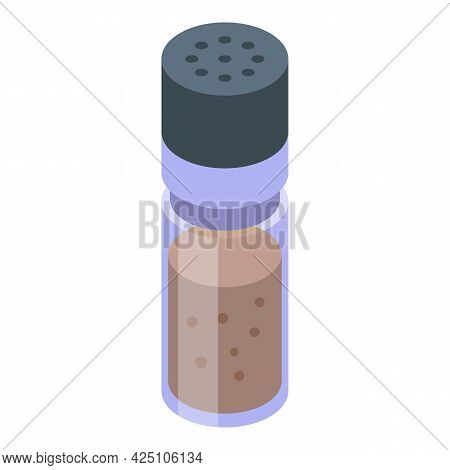 Pepper Pot Icon Isometric Vector. Salt Food Bottle. Mill Kitchen Condiment