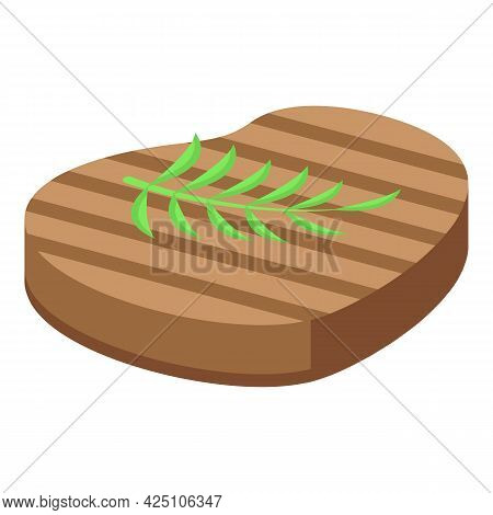 Grilled Steak Icon Isometric Vector. Bbq Grill Meat. Barbecue Beef Steak