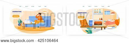 Overeating Landing Page Design, Website Banner Vector Template Set. Woman Eating Pizza, Burger. Unhe