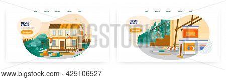 House Repair Service Landing Page Design, Website Banner Vector Template Set. Home Renovation, Roof